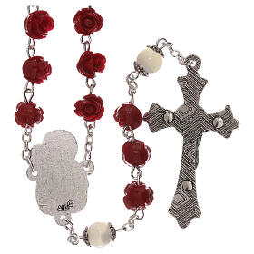 Rosario con granos rosas Virgen con niño resina rojo 5 mm s2
