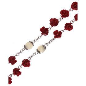 Rosario con granos rosas Virgen con niño resina rojo 5 mm s3