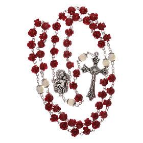 Rosario con granos rosas Virgen con niño resina rojo 5 mm s4