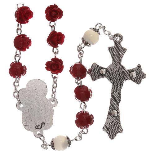 Rosario con granos rosas Virgen con niño resina rojo 5 mm 2