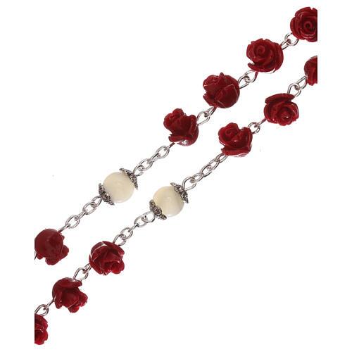 Rosario con granos rosas Virgen con niño resina rojo 5 mm 3