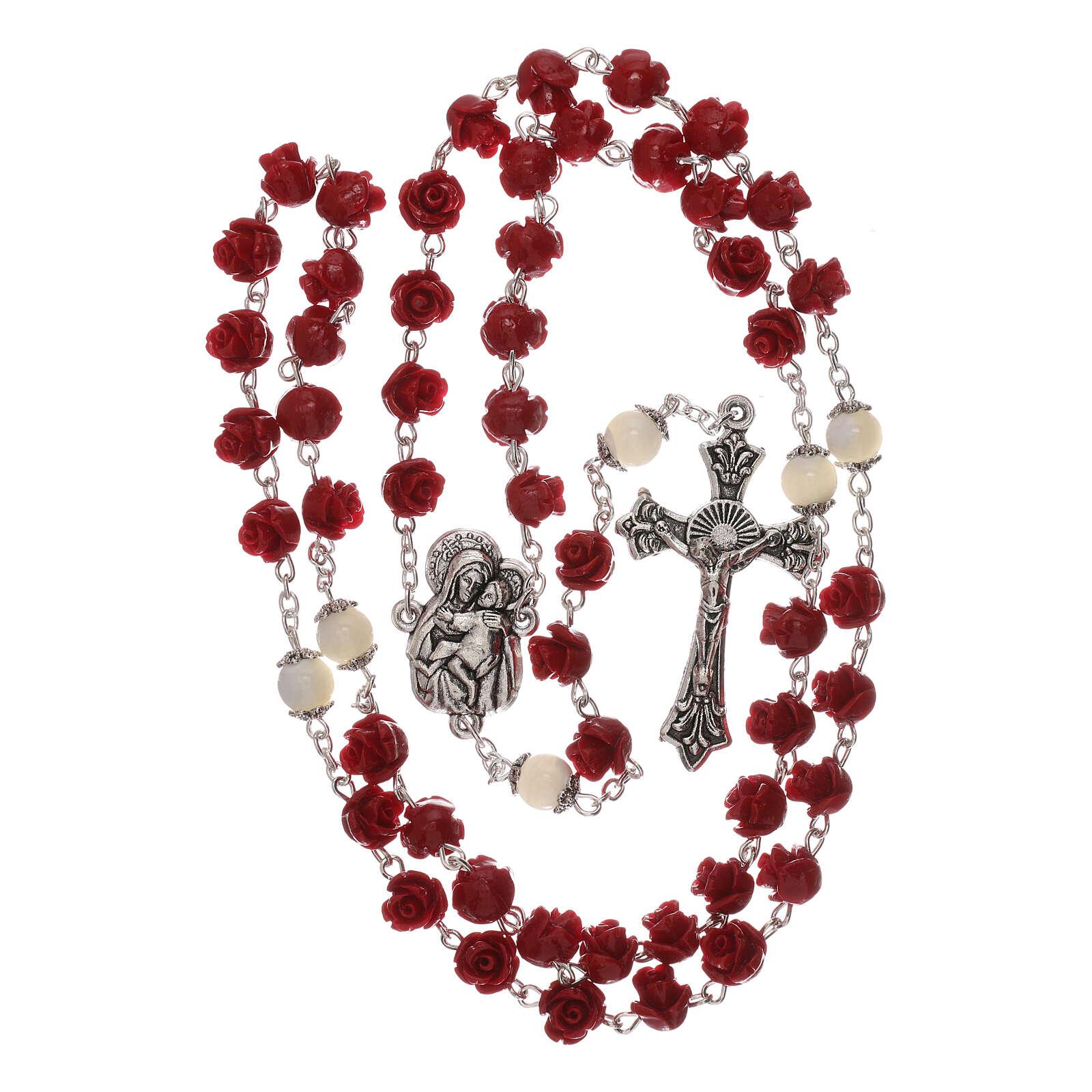 Rosario con grani rose Madonna con bambino resina rosso 5 mm 4