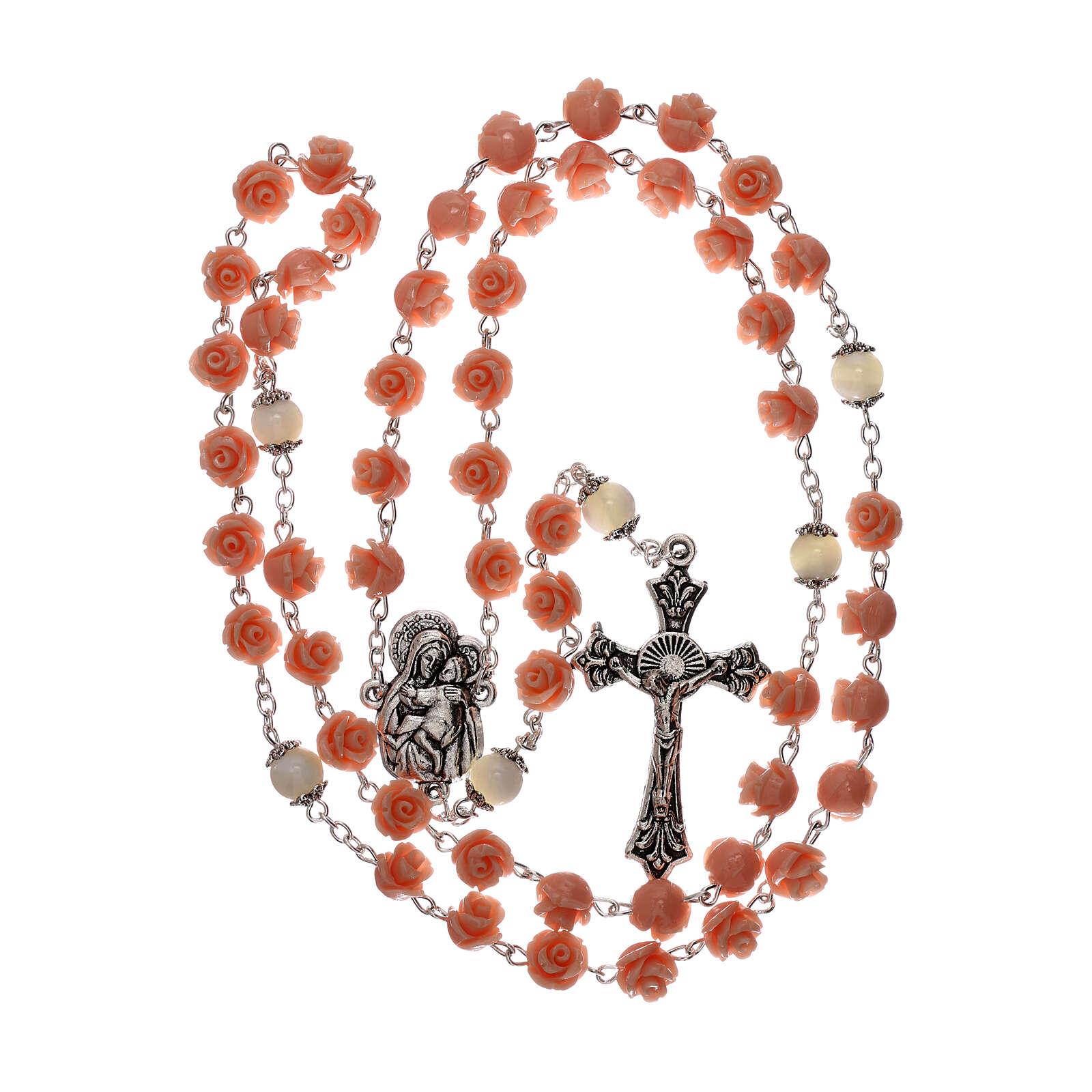 Rosario rose Madonna con bambin Gesù resina rosa 5 mm 4