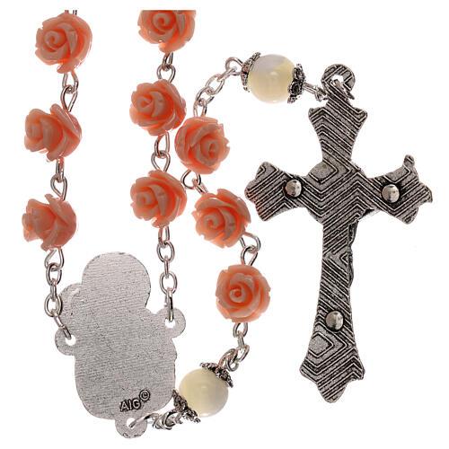 Rosario rose Madonna con bambin Gesù resina rosa 5 mm 2