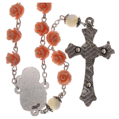 Rosary roses Virgin Mary with Child pink resin 5 mm 2