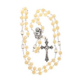 Rosario grani rose Madonna con bambino resina crema 5 mm s4