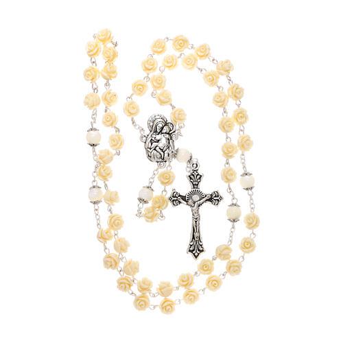Rosario grani rose Madonna con bambino resina crema 5 mm 4