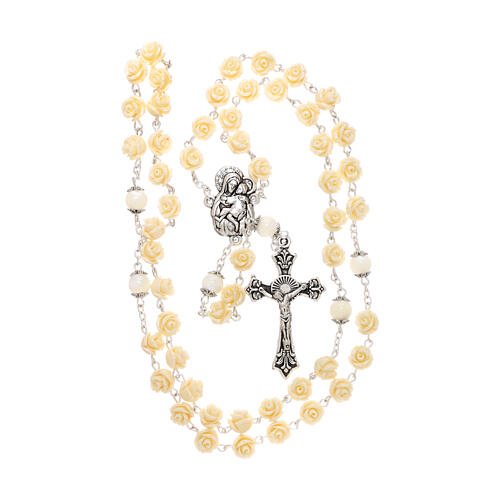 Rosary roses Virgin Mary with Child beige resin 5 mm 4