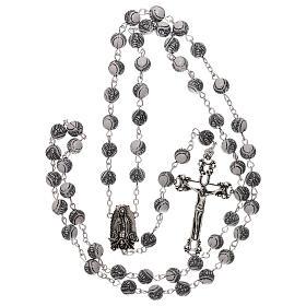 Rosario perla blanca con motivo negro Virgen plástico 5 mm s4