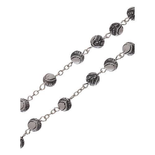 Rosario perla blanca con motivo negro Virgen plástico 5 mm 3