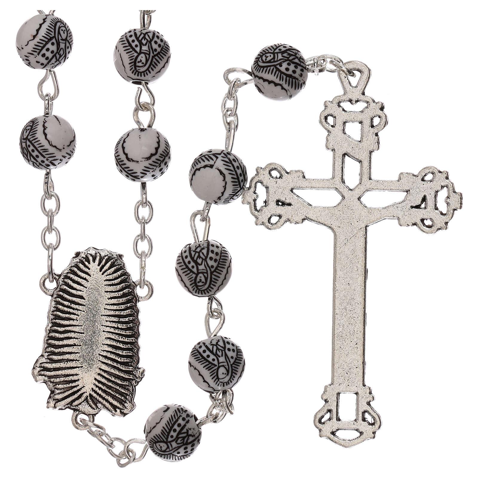 Rosario perla bianca con disegno nero Madonna plastica 5 mm 4