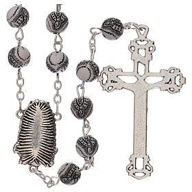 Rosario perla bianca con disegno nero Madonna plastica 5 mm s2