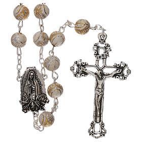 Rosario perla bianca con disegno dorato Madonna plastica 5 mm s1