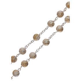 Rosario perla bianca con disegno dorato Madonna plastica 5 mm s3
