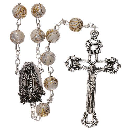 Rosario perla bianca con disegno dorato Madonna plastica 5 mm 1