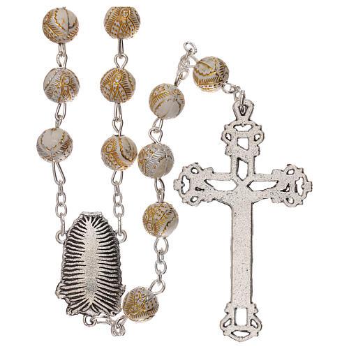 Rosario perla bianca con disegno dorato Madonna plastica 5 mm 2