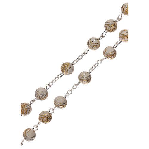 Rosario perla bianca con disegno dorato Madonna plastica 5 mm 3
