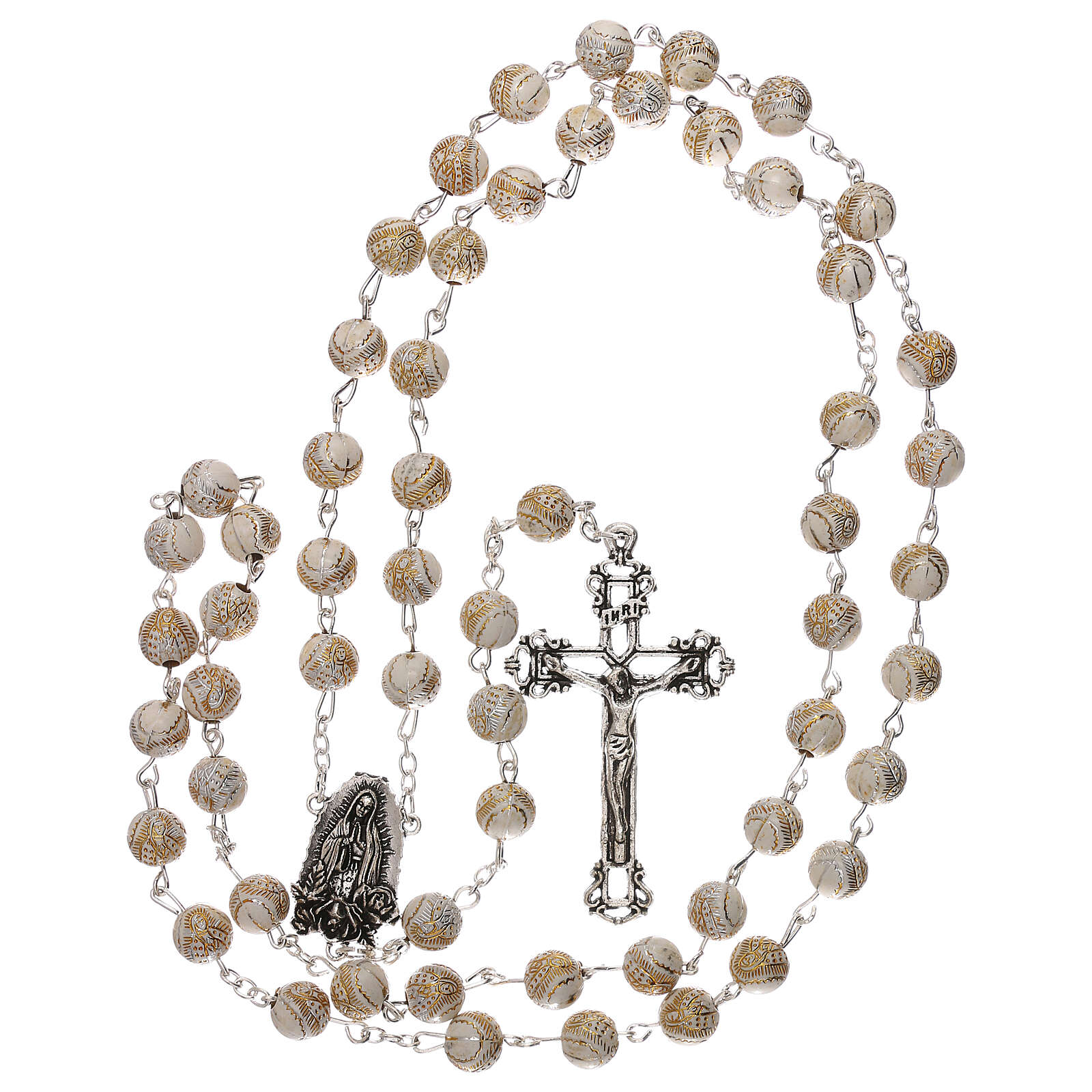 Rosary white beads with gold pattern Our Lady plastic 5 mm 4