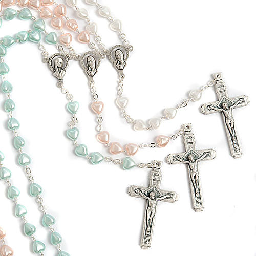 Heart-shaped beads pearled rosary 1