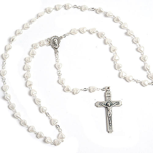 Heart-shaped beads pearled rosary 7