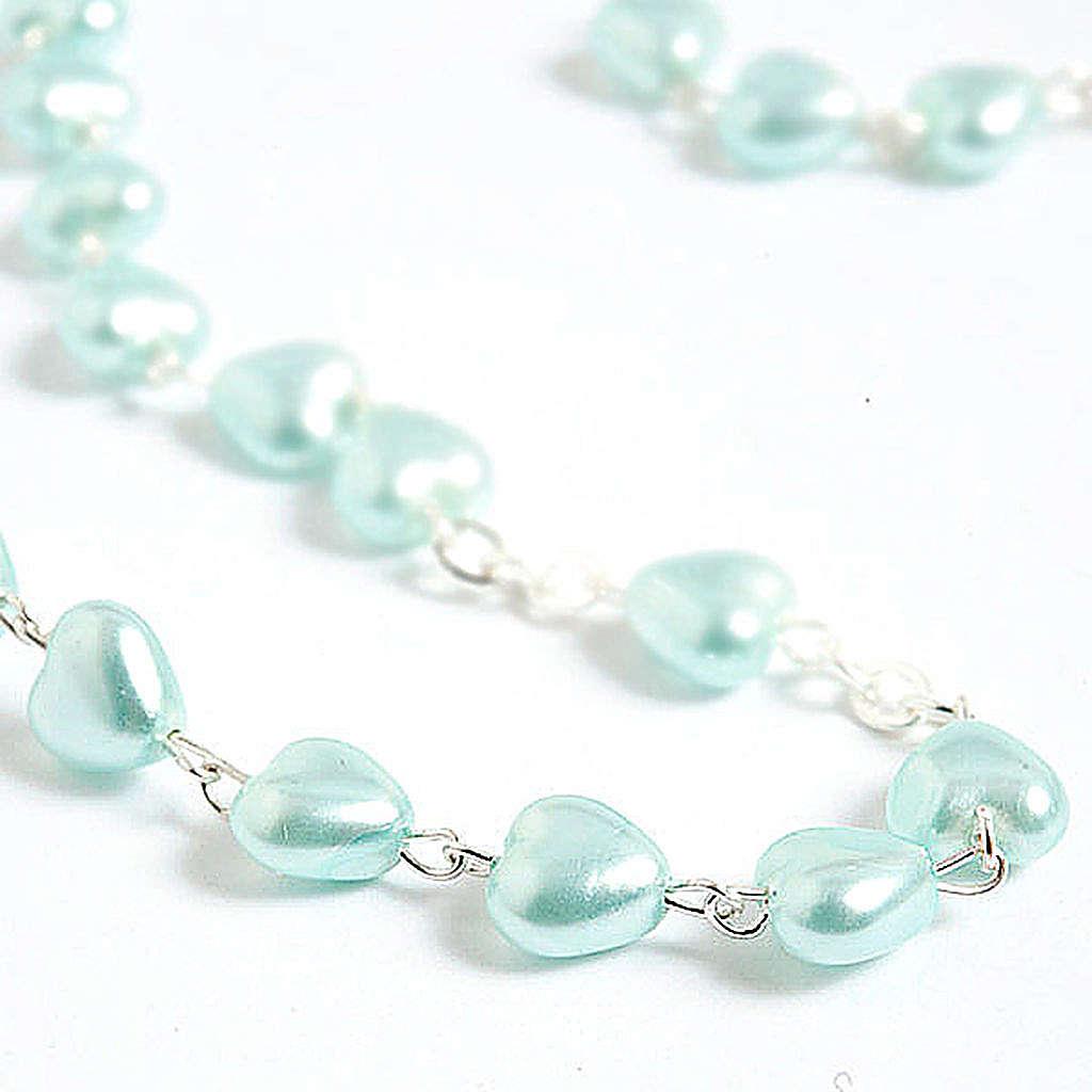 Rosario símil perla encerada corazón 4