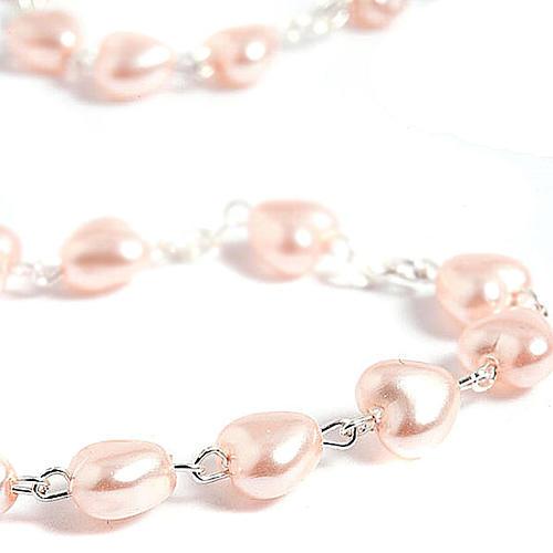 Rosario símil perla encerada corazón 6