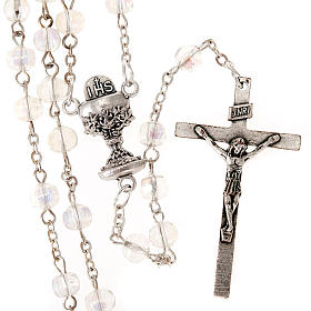 First Communion transparent beads rosary s1