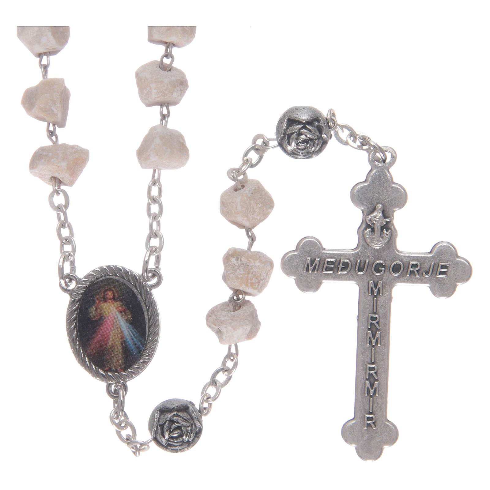 Medjugorje stone rosary with rose-shaped beads 4