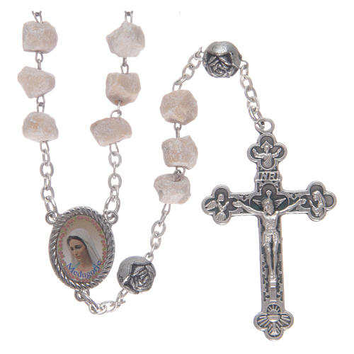 Medjugorje stone rosary with rose-shaped beads 1