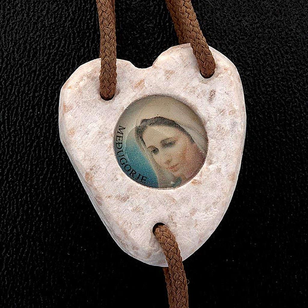 Rosario Medjugorje cuore pietra bianca 4