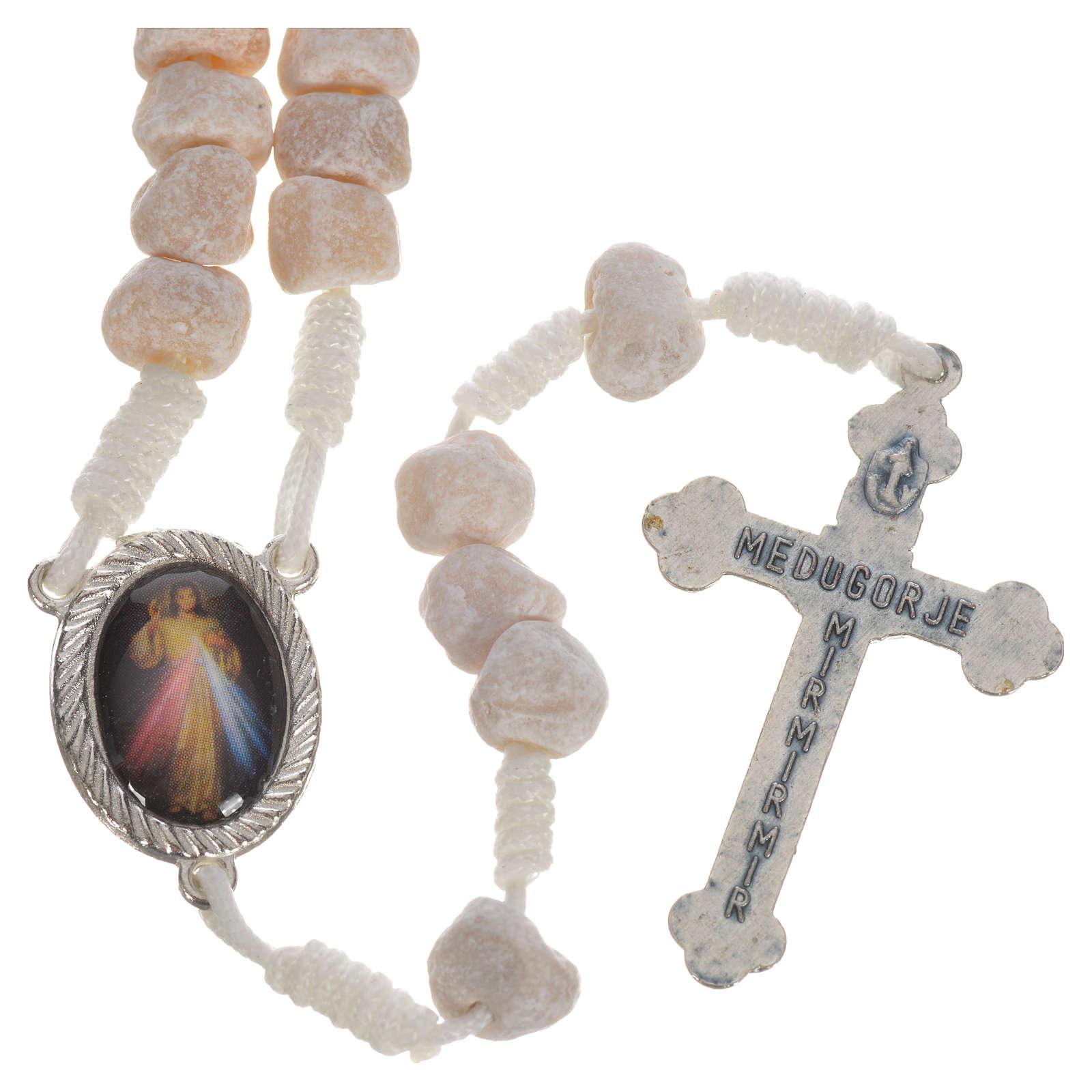 Medjugorje stone rosary white string 4
