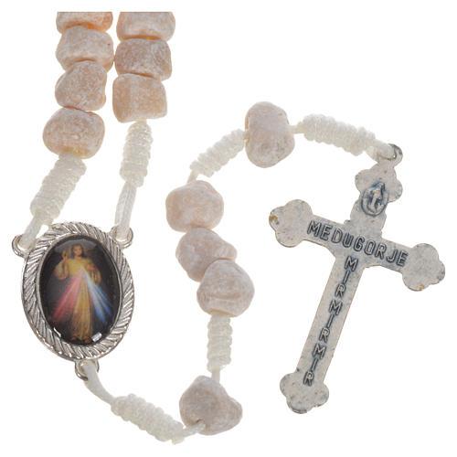 Medjugorje stone rosary white string 2