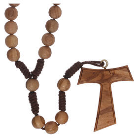 Olive wood  rosary with Tau s5