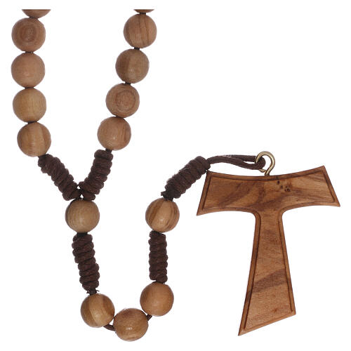 Olive wood  rosary with Tau 5