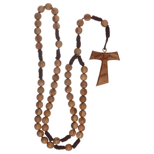 Olive wood  rosary with Tau 7