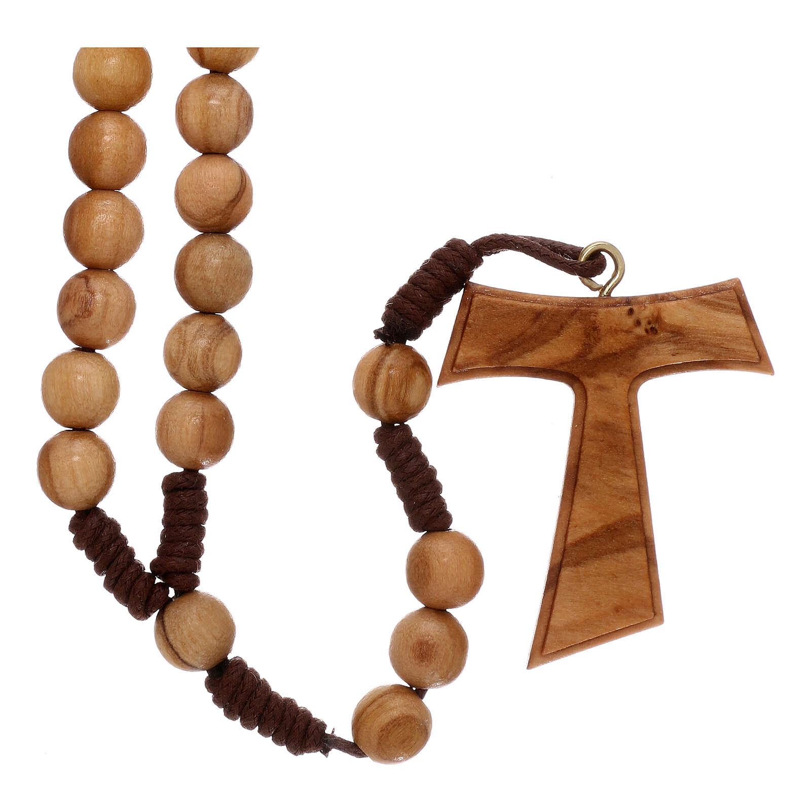 Różaniec z drewna oliwkowego z krzyżem Tau 4