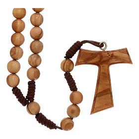 Różaniec z drewna oliwkowego z krzyżem Tau s1