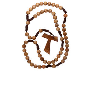 Różaniec z drewna oliwkowego z krzyżem Tau s4