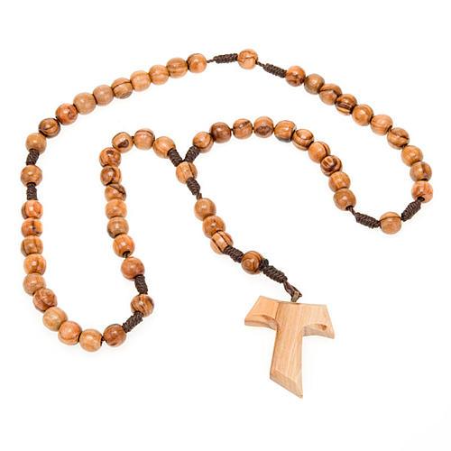 Różaniec z drewna oliwkowego z krzyżem Tau 3