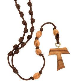 Assisi olive wood rosaries: Tau string rosary