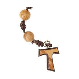 Dziesiątka różańca drewno oliwne na sznurku Tau supełki s2