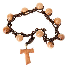 Assisi olive wood rosaries: Ten beads rosary braided tau