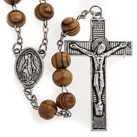 Rosary in olive wood with Roman Basilicas medal 8mm s2