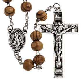 Rosary in olive wood with Roman Basilicas medal 8mm s1