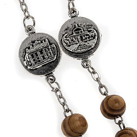 Rosary in olive wood with Roman Basilicas medal 8mm s6