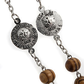 Rosary in olive wood with Roman Basilicas medal 8mm s10