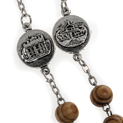 Rosary in olive wood with Roman Basilicas medal 8mm 5
