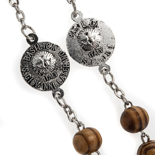 Rosary in olive wood with Roman Basilicas medal 8mm 9