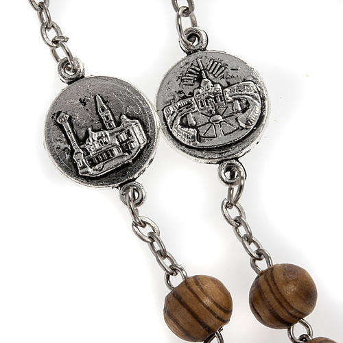Rosary in olive wood with Roman Basilicas medal 8mm 8