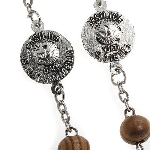 Rosary in olive wood with Roman Basilicas medal 8mm 12